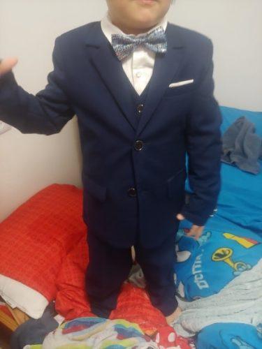 Children Formal Dress Suit Sets Flowwer Boys Blazer Vest Pant 3pcs Outfits Kids Wedding Party Piano Performance Host Costume photo review
