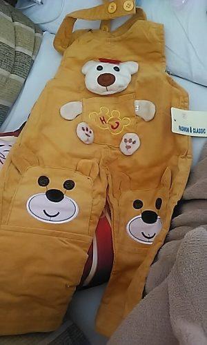 BibiCola infant children boys overalls baby boys spring autumn fashion cartoon bear bib pants denim pants kids boys strap pants photo review