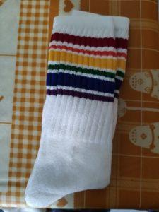 Child boy football socks striped colored rainbow knee socks cotton school white long sock for kids girls baby boy children 1-10T photo review