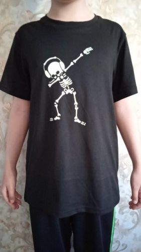 Glow In Darkness Dabbing Skull Cool T Shirt for Kids Boys Girls Summer T-shirt Children Hip Hop Rock Tshirt Toddler Baby Top Tee photo review