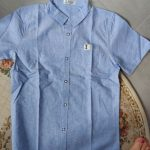 GFMY 2020 Summer Hot Sale Children Shirts Casual Solid Cotton Solid Color Blue White Short-sleeved Boys Shirts For 2-14 Years photo review