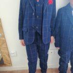 Formal Flower Boys Wedding Suit Set Children Host Party Paino Performance Dress Costume Kids Plaid Blazer Vest Pants Outfits photo review