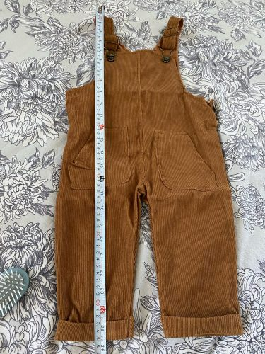 Toddler Baby Boys Suspender Pants Overalls Solid Color Corduroy Pocket Trousers Casual Loose Toddler Bib Pants Baby Clothing photo review