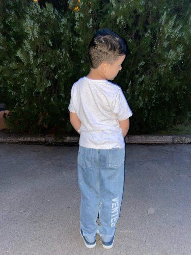 2020 Boys New Jeans Fashion Letter Children Pants Blue Black Kids Clothes Pants photo review