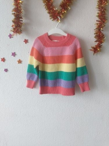 Baby Boys Girls Stripe Knitted Tops Sweater Outfits Christmas Baby Boy Winter Thick Knitted Clothes Girls Sweaters photo review
