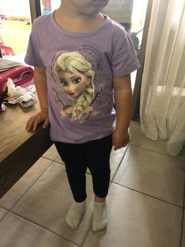 Girls' Spring and Autumn Frozen Children's Cotton Short Sleeve T-shirt Base Shirt Baby Girl Round Neck Base Shirt Baby Top Kids photo review