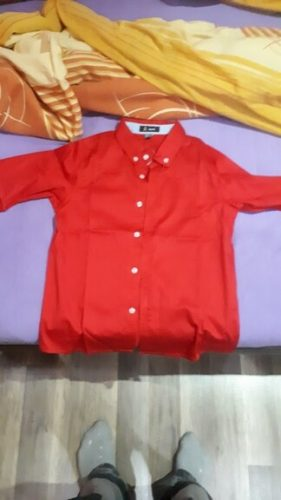 Children red shirts Casual Solid color 100% Cotton Good quality Satin Boys shirts kids clothing photo review