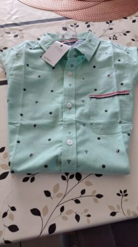 GFMY 2020 Hot Sale Children Shirts Casual Solid Cotton Short-sleeved Boys shirts For 2-14 Years Ribbon Decoration Baby shirts photo review