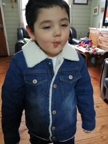 Korean Classic Style Kids Cashmere Coat For Boys Autumn Winter Cashmere Wool Coat Toddler Winter Fur Denim Coat Baby Warm Jacket photo review