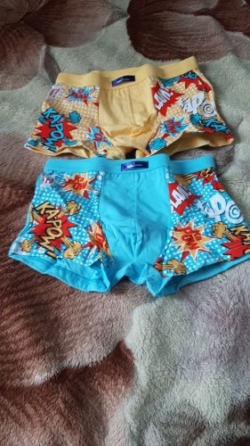 2021 New 2 Pcs/lot Bamboo Fiber Underpants Comfortable Breathable Underwear Kids boys Boxer for 3-11Yrs Boys Briefs QS1004 photo review