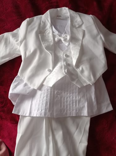 Baby Boy Classic Tuxedo Infant Baptism Wedding Suit Toddler Formal Party Christening Church Outfit with Jacquard Tail 4PCS photo review