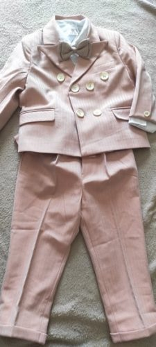 Pink Boys Suits for Weddings Kids Blazer Suit for Boy Costume Infant Blazer Boys Tuxedo Baby Boy Clothing Sets Coat Pant bow 3Ps photo review