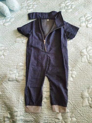 Toddler Kids Boy Zipper Up Denim Jumpsuit Romper photo review