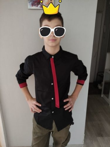 Hot Sale Children Boy's Red Shirts Spring 2019 Classic Solid White Tops Cotton Long Sleeve Shirt for 4-15Yrs Autumn Kids Clothes photo review