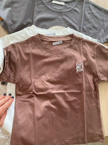 Cotton children's short-sleeved t-shirt 2021 summer new children's clothing boys and girls tops embroidery P4054 photo review