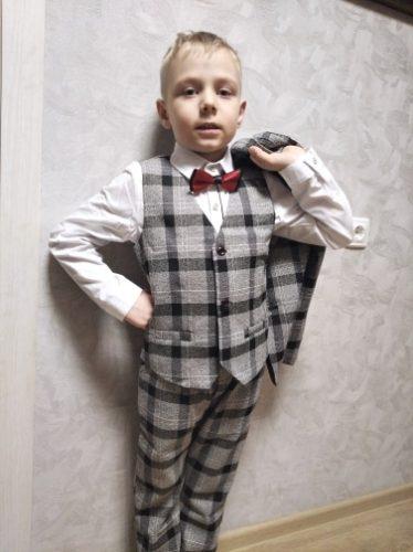Flower Boys Formal Event Garment Wedding Suit Kids Birthday Dress Jacket Vest Pants Tie 4Pcs Children Prom Piano Tuxedo Costume photo review