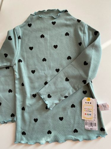 Baby Girls Shirt Long-sleeved Tops For Kids O-necked Love Heart Baby T-shirt Toddler Bottoming Cotton Children's Blouse photo review