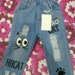 Baby Boys Girls Jeans Pants New 2019 Children Trousers 1-7Yrs Boys Girls Jeans Boys Casual Pants Cartoon Cat Jeans For Kids photo review