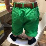 2021 Summer 3-10 Years Cotton Navy Blue Khaki Blue Green Solid Color Children'S Running Sports Boy Shorts Kids With Leather Belt photo review