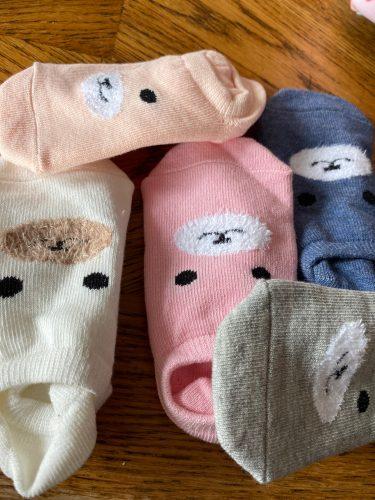 WARMOM 5 Pair Children Short Socks Cartoon Zebra Pattern Soft Cotton Kids Socks Printed Knitting Socks Maternal Infant Supply photo review