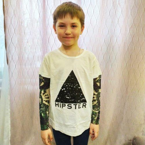 Novelty Tattoo Kids Long Sleeve T-Shirts Fashion Print Cotton Boys T Shirt Kids Girls Tops Children's Clothes 1-7 Years photo review