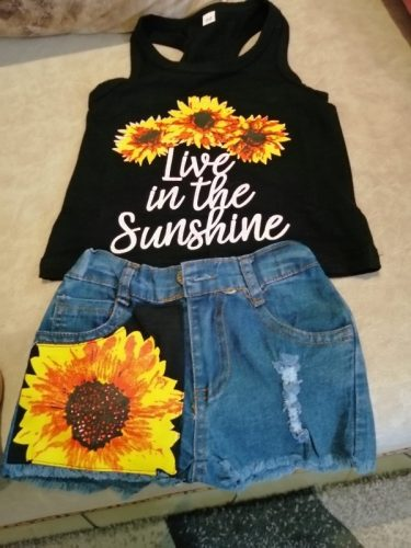 Sunflower Toddler Baby Girl set Clothes sleeveless letter Vest Tank Top Short Pants Summer Outfits set clothes photo review