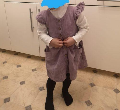 Toddler Kid Baby Girl Summer Dress Ruffles Sleeves Cotton Linen Party Children Girls Casual Button Pocket Dress Sundress Clothes photo review