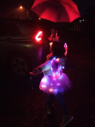 Women Girls Kids Neon LED Tutu Skirt Party Stage Dance Wear Pleated Layered Tulle Light Up Short Dress Wings for 3-12 years old photo review