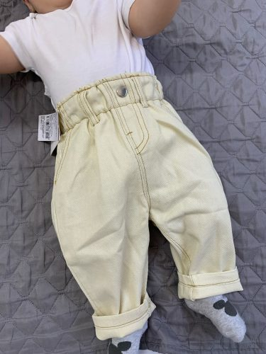 2020 Autumn And Winter New Jeans Baby Girl Clothes Baby Boy Clothes High Waist Solid Color Warm Out Jeans Children's Clothing photo review
