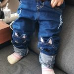 Hot Quality 2018 Girls Jeans for Spring and Autumn Children's Clothing Kids Cat Embroidered Jeans 2-8 Ages Blue girl jeans kids photo review