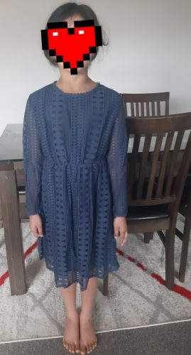Kids Dresses Teenage White Blue Wedding Party Dress Lace Girl Dress Long Sleeve Children Clothing Spring Autumn 6 8 10 12 14 16 photo review