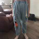 2021 Fashion Cartoon Jeans for Girls Teenage Children Jeans Elastic Waist Denim Pants Kids Trousers for Girls Kids Clothes 4-13T photo review