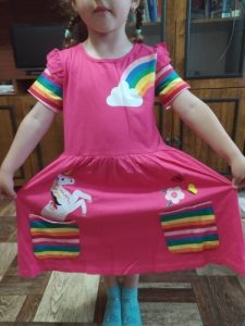Girl short-sleeved unicorn dress pony cartoon dress printed embroidered cotton round neck dress for girls kids summer dress photo review