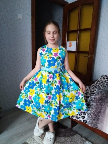 Girls Vest Dress Cotton Flower Print Children Wear Korean Cute 95% Cotton Princess Party Dresses 4 5 6 7 8 9 10 11 12 14 Year photo review