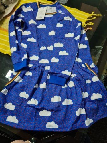 SAILEROAD Cloud Rainbow Print for Kids Dress Autumn Winter Princess Party Tutu Dress Girls Dress Sequins Children's Vestidos photo review