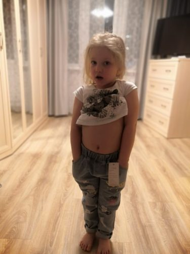 Personality cloud graffiti printing hole casual children jeans,Children's Clothing For Girl Kids Pants Boutique Children Trouser photo review