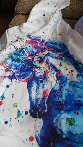 Fashion 3D Unicorn Hoodies Sweatshirt Girls Boys Rainbow Horse Animal Printed Thin Long Sleeve Kids Hoodie Toddler Hoody Coat photo review