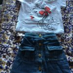 Summer New Toddler Kids Baby Fashion Outfits Clothes Set Shirt Cotton Top Denim Button Mini Skirts 2PCS Outfit 1-6Y photo review