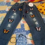 V-TREE Jeans For Girls Butterfly Ripped Skinny Baby Denim Pants Casual Children's Ripped Jeans For Teen Girls New Autumn photo review
