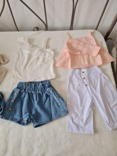 3pcs Toddler Kid Baby Girl Clothes Ruffle Sling Tops T-shirt Tops Long Pant Headband Outfits Set Kids Summer Clothes photo review