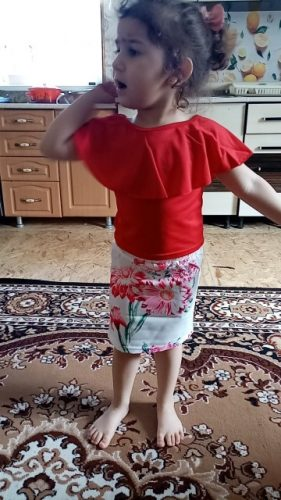 Pudcoco Girl Clothes Canis Kid Baby Girls Tops T-shirt Flower Skirt Dress Headband Outfit Clothes Set photo review