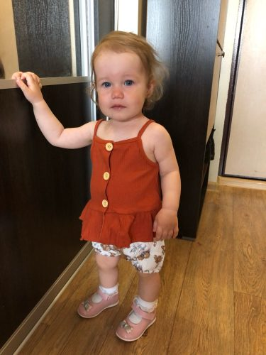 2 PCS Kids Baby Girl summer Clothes Sleeveless Knitted Vest Tops Dress Flower Shorts Pants sweet girls Floral Outfit Set photo review