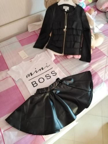 Fashion Girls Summer Clothes 1-6Years Toddler Kids Baby Girl mini boss Printed T-shirts PU Leather Skirts Outfits 2Pcs Set photo review