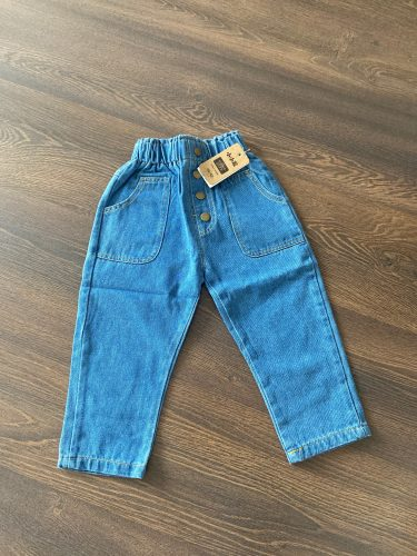 2020 New Arrival Autumn Baby Girls Denim Pants Children Kids Solid Jeans High Waist with Bottons Fashion Cute Girls Jeans photo review