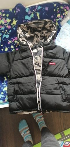 Boys Coats Winter Kids down cotton jacket Childrens' jacket Parka for Girl Camouflage Wearable on both sides Baby Clothing photo review
