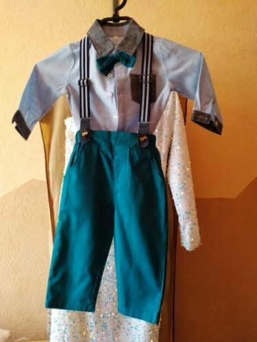 Top and Top Fashion Kids Boy Gentleman Clothing Set Long Sleeve White Shirt Tops Overalls Clothes Outfit Boy Formal Suit Bebes photo review