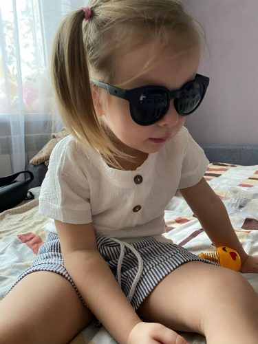 6M-3Y Kid Baby Boys Girls Clothes Sets White Button Short Sleeve T Shirts Tops Striped Pants photo review