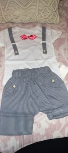 2020 Summer Boys Fashion Clothes Set Short Sleeve T-shirt Strap Shorts 2-piece Set Bow Tie Kids Set photo review