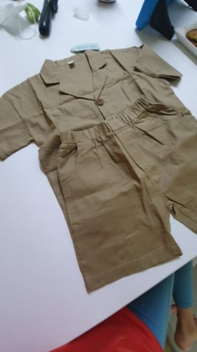Humor Bear Japanese Korean Style Boys Cotton Linen Clothing Sets Kids All-Match Single-Breasted Shirt Shorts 2Pcs Suits photo review