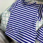 Summer girls shirt red/blue white stripe sailor style princess girls blouse ruffles lace children tops toddler girls clothing photo review